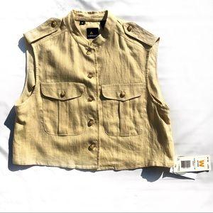 LizSport Linen Cargo Button Front Vest